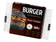 """Сыр плавленый """"Чеддер Черный"""" Burger 45% 200г слайсы (10 ломтиков) 1/12"""
