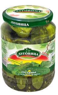 Огурцы Луговица 670 мл заливка с зеленью ст/б 1/8