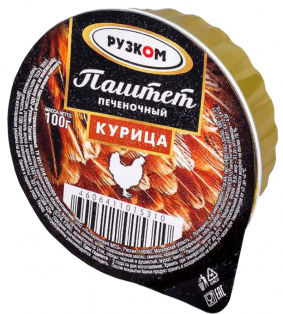 "Паштет печёночный ""Курица"" ламистер 100 г 1/20 Easy Open ГОСТ ТМ Рузком"