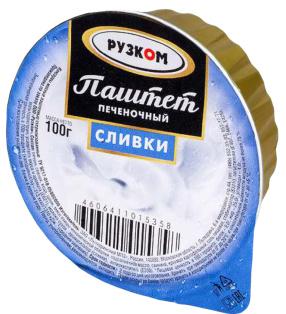 """Паштет печёночный """"Сливки"""" ламистер 100 г 1/20 Easy Open ГОСТ ТМ Рузком"""