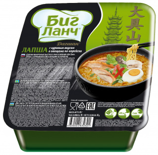 "Лапша БП ""БИГ ЛАНЧ"" с куриным вкусом и овощами по-корейски 90гр х 24 лоток"