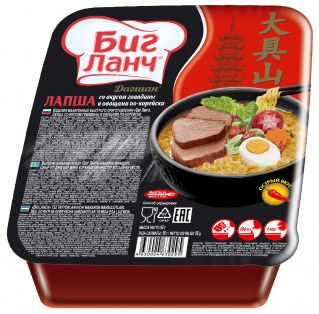 "Лапша БП ""БИГ ЛАНЧ"" со вкусом говядины и овощами по-корейски 90гр х 24 лоток"