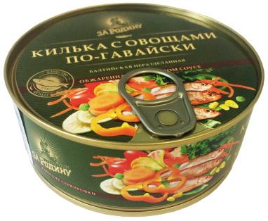 Килька балт. обжар. с овощами в т/с по-гавайски За Родину 240г 1/48 ключ