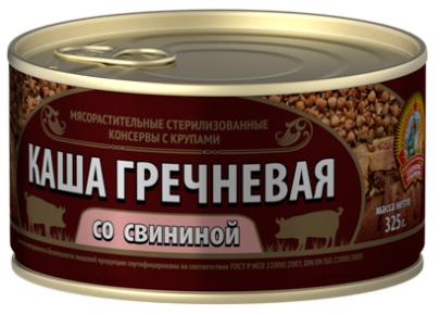 Каша гречневая со свининой ГОСТ КТК 325г 1/24
