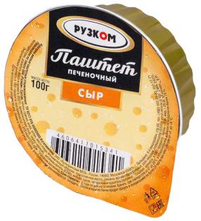 """Паштет печёночный """"Сыр"""" ламистер 100 г 1/20 Easy Open ГОСТ ТМ Рузком"""