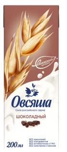 Напиток овсяный шоколадный, обогащенный кальцием и витамином В2 3,2% 0,2 л. Овсяша 1/15