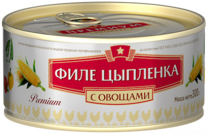 Филе цыпленка с овощами Премиум КТК 300г 1/24
