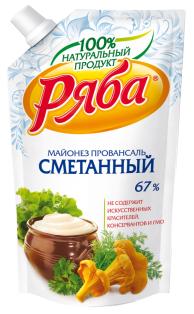 """Майонез """"Классический Сметанный"""" 67% 233гр пакет ТМ Ряба 1/28"""