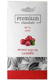 Шоколад Premium тёмный с сушеной клюквой (коробка) 90г 1/15