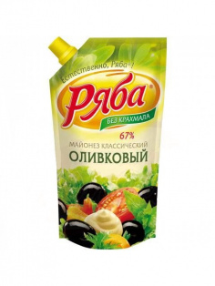"Майонез ""Классический Оливковый"" 200гр пакет ТМ Ряба 1/28"