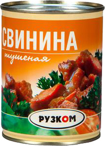 Свинина тушеная в/с ГОСТ литография 338 г 1/30 ТМ Рузком