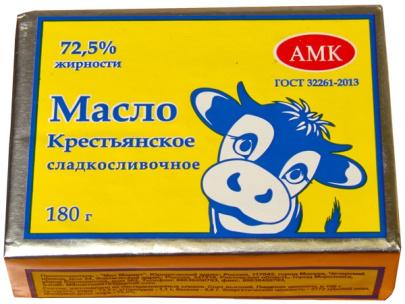 """Масло """"Крестьянское"""" 72,5% 180гр ТМ """"АМК"""" 1/30 БЗМЖ"""