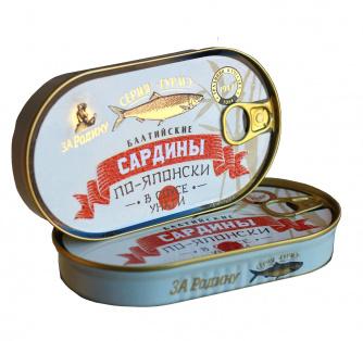 Сардина балт. в соусе унаги по-японски За Родину 175 гр 1/40 ключ HANSA