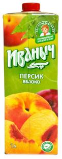 Нектар яблочно-персиковый Иваныч Tetra pak 0,95л 1/12
