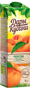 Нектар персиково-яблочный с мякотью 1л. Дары Кубани ПРИЗМА 1/6
